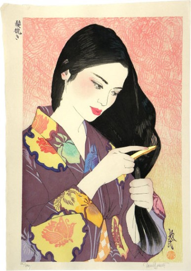 "Paul Binnie - Prints - Bijin-ga - ""Hair Combing"" Kamisuki"