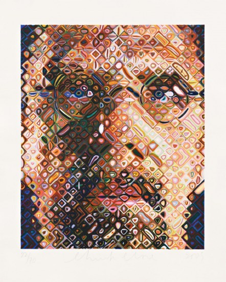 Chuck Close - Self-Portrait Woodcut 2009