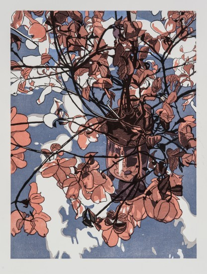 Jane Goldman - Prints - Blossom, Variation 2 (burnt orange and blue)
