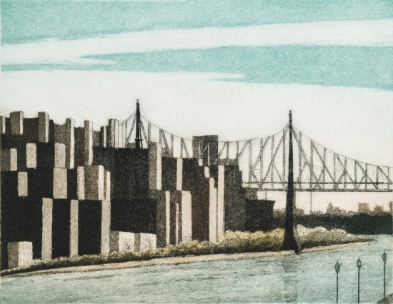 Linda Adato - Color etchings: urban landscapes and other imagery - Across The River