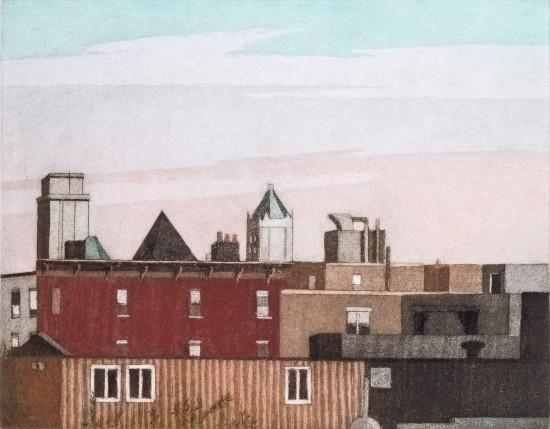 Linda Adato - Color etchings: urban landscapes and other imagery - Late Afternoon