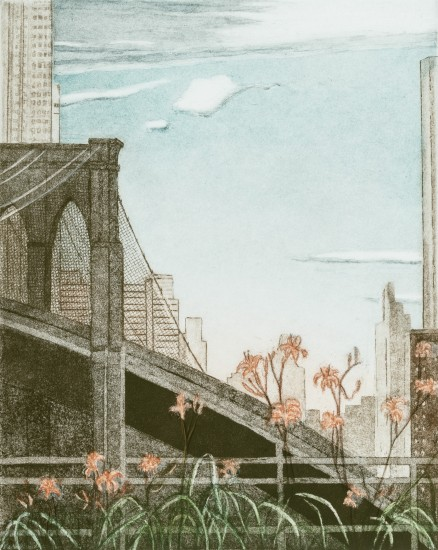Linda Adato - Color etchings: urban landscapes and other imagery - Lilies by the Bridge