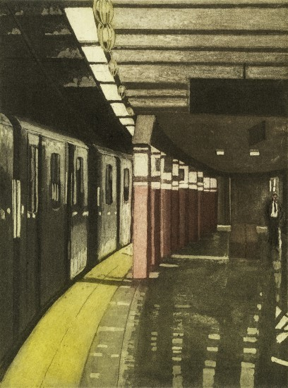 Linda Adato - Color etchings: urban landscapes and other imagery - Missing the Train