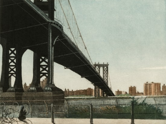 Linda Adato - Color etchings: urban landscapes and other imagery - The Cyclist