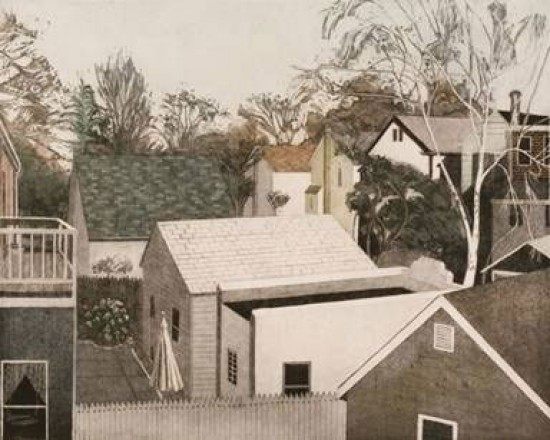 Linda Adato - Color etchings: urban landscapes and other imagery - View from the Back Porch