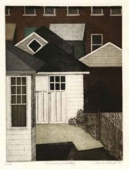Linda Adato - Color etchings: urban landscapes and other imagery - Backyard Geometry