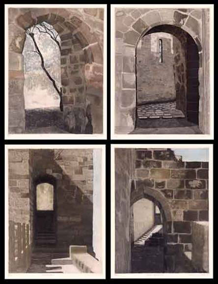 """Linda Adato - Color etchings: urban landscapes and other imagery - """"Bone Tree"""", """"Castle Edge"""", """"Castle Passages"""", """"Stepping Stones"""""""