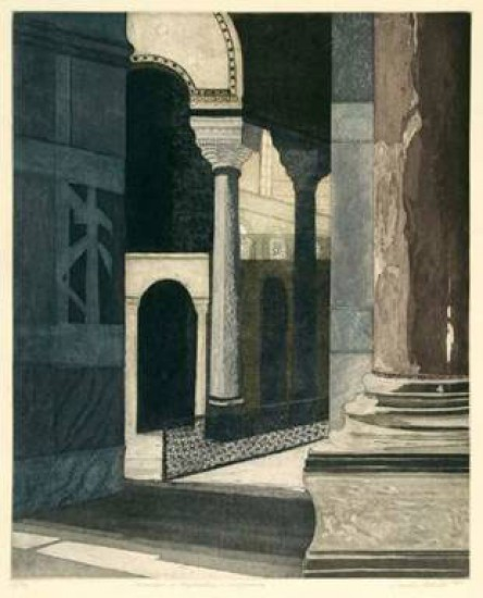 Linda Adato - Color etchings: urban landscapes and other imagery - Chambers of Negotiation & Compromise