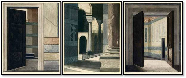 """Linda Adato - Color etchings: urban landscapes and other imagery - """"Waiting Room, The"""", """"Chambers of Negotiation & Compromise"""", """"Chamber of Good Intentions, The"""""""