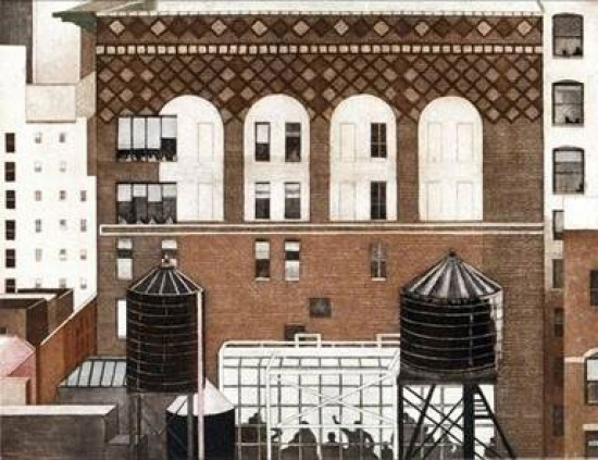 Linda Adato - Color etchings: urban landscapes and other imagery - The Meeting