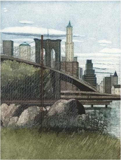 Linda Adato - Color etchings: urban landscapes and other imagery - Through a fence partly
