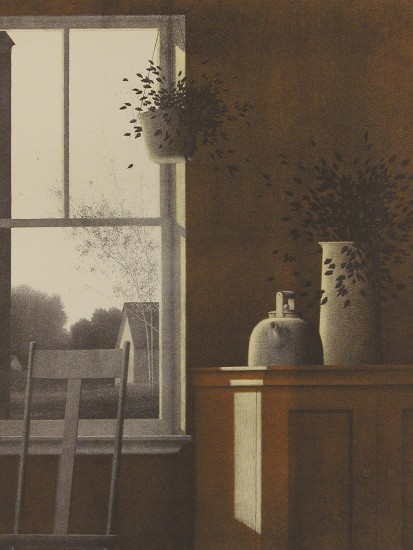 Robert Kipniss - Lithographs - Interior w Suspended Plant