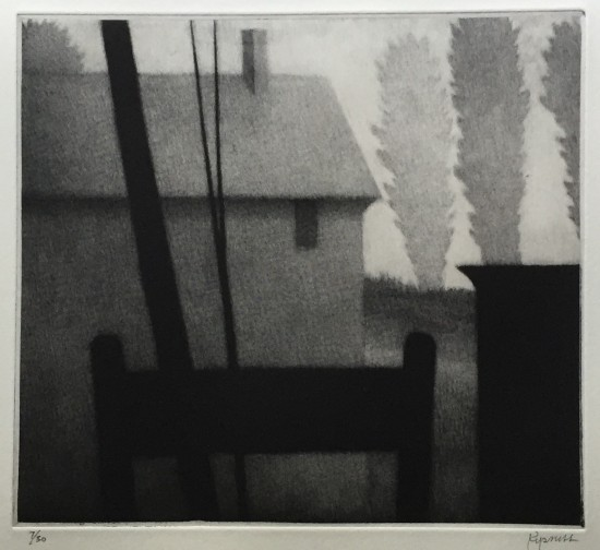 Robert Kipniss - Mezzotints - Chair & rooftop