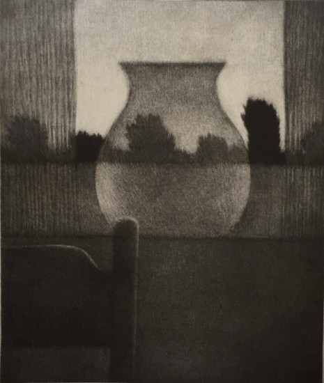 Robert Kipniss - Mezzotints - Chair, vase & curtains