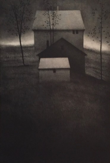 Robert Kipniss - Mezzotints - Hillside houses III