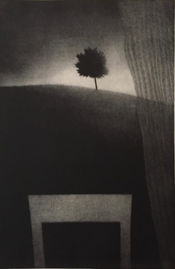 Robert Kipniss - Mezzotints - Window w/curtain & tree
