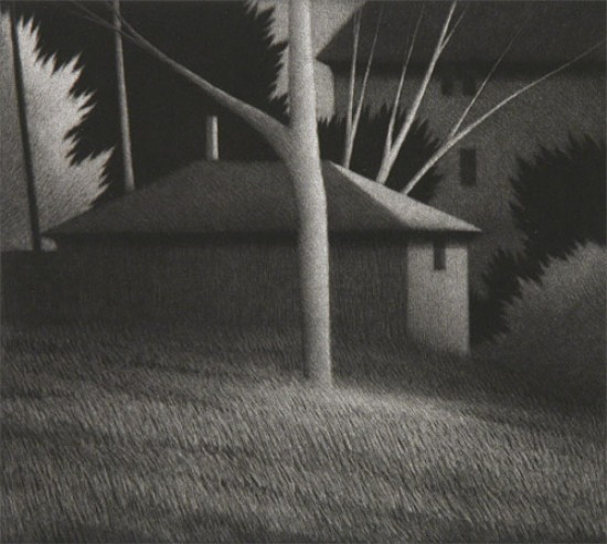 Robert Kipniss - Mezzotints - Backyards: from Springfield, O.