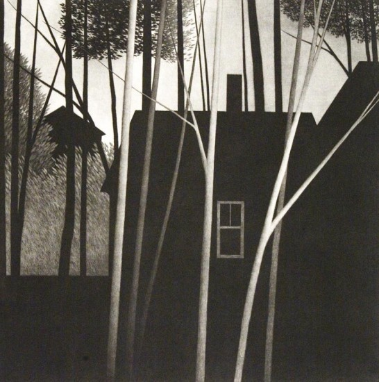 Robert Kipniss - Mezzotints - Before morning: chimney and window