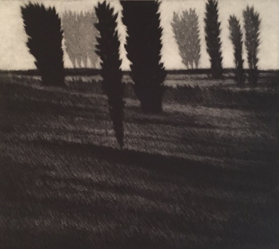 Robert Kipniss - Mezzotints - Slope w/three dark trees