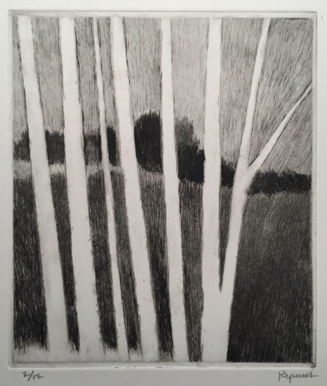 Robert Kipniss - Mezzotints - Dark landscape w/pale trees