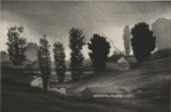 Robert Kipniss - Mezzotints - Spring evening