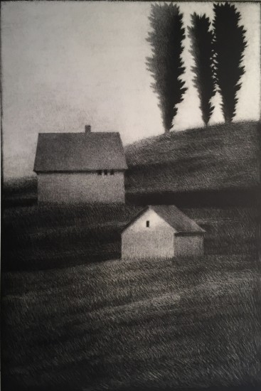 Robert Kipniss - Mezzotints - Hillside w three trees