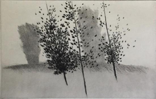 Robert Kipniss - Mezzotints - Three trees, leaning