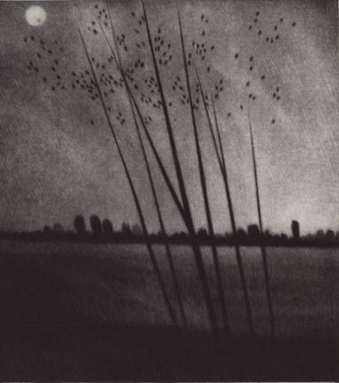 Robert Kipniss - Mezzotints - Moonrise & sunset