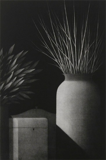 Robert Kipniss - Mezzotints - Nocturne: still life w/two vases