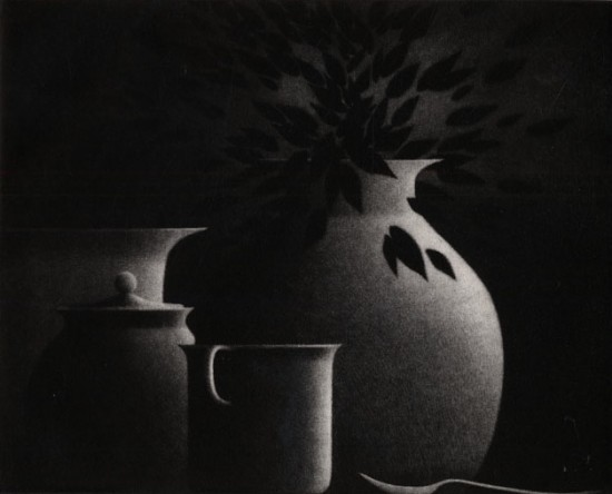 Robert Kipniss - Mezzotints - Still life w/cup and spoon