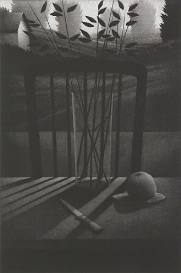 Robert Kipniss - Mezzotints - Still life w/knife and fruit