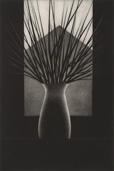 Robert Kipniss - Mezzotints - Vase w/branches and gable