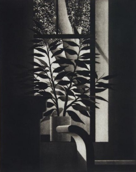 Robert Kipniss - Mezzotints - Window w/bench and trees