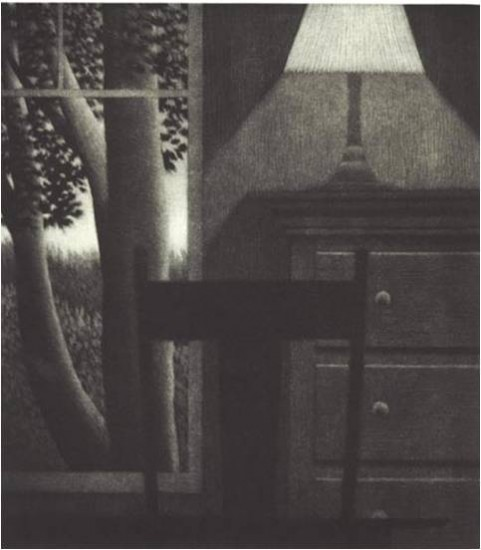 Robert Kipniss - Mezzotints - Window w/lamp