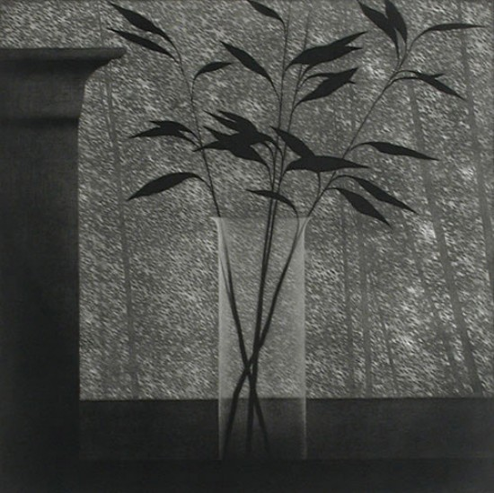 Robert Kipniss - Mezzotints - Window w/vase & forest