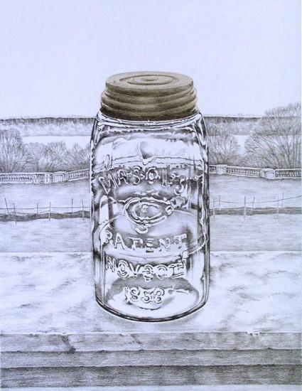 Mason Jar Pencil Drawing Rica Bando Mason Jar / Wave