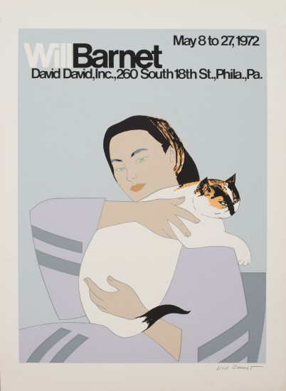 Todd Barnet - 85 Woman with White Cat Poster, 1972