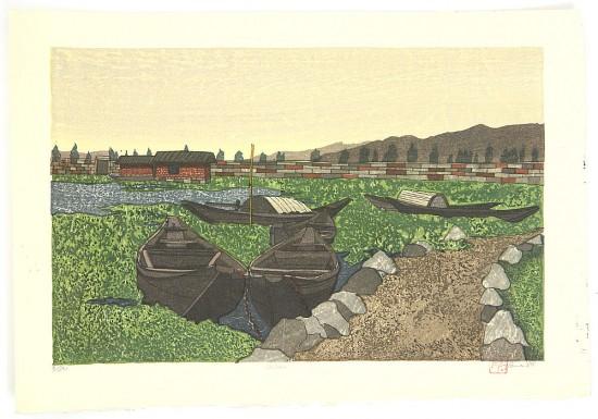 Joshua Rome Prints - Woodblock Prints - Chihan (By the Lakeside)
