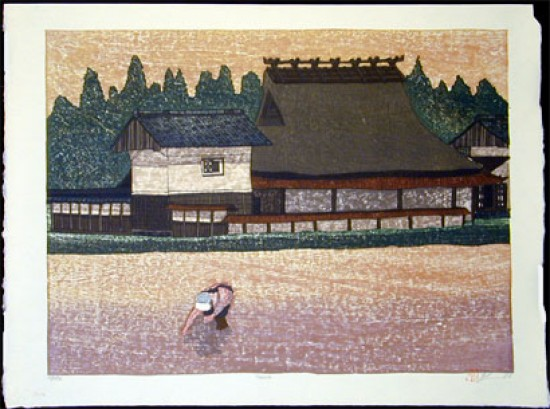 Joshua Rome Prints - Woodblock Prints - Tazura (Rice Field)