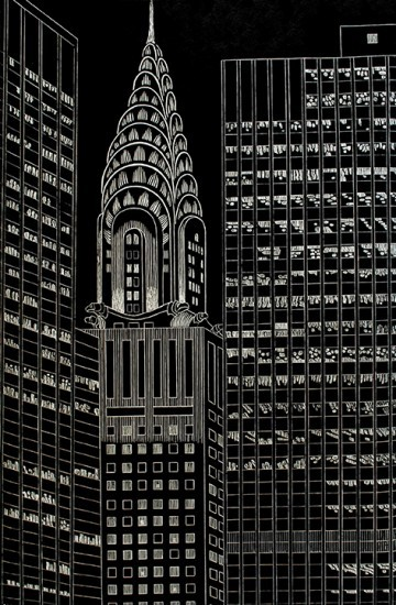 Yvonne Jacquette - Chrysler Building Flanked by High Rise Buildings, II